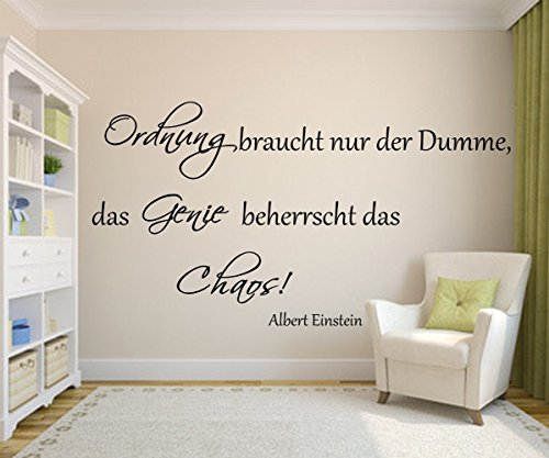 das genie beherrscht das chaos spruch albert einstein als wandtattoo f r ihr wohnzimmer in 21. Black Bedroom Furniture Sets. Home Design Ideas