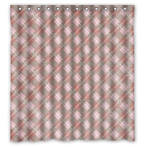 Home Curtain New For Bathroom Simple Retro Plaid Shower Curtain With Hooks / 100% Polyester Waterproof Fabric Curtain / 66 / Shower 66x72inch (Ababy Personalized Shower Curtain compare prices)