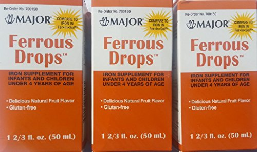 [3 Pack] Ferrous Dropstm 15Mg/1Ml Iron Supplement For Infants And Toddlers (50Ml) Pack Of 3 Bottles *Compare To The Same Active Ingredients Found In Enfamil® Fer-In-Sol® & Save!!*