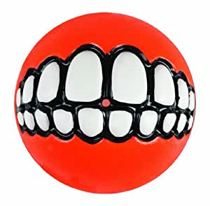 Rogz Grinz Treat Ball Dog Toy, Medium Orange