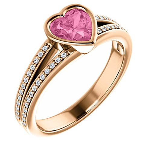 18K Rose Gold 6X6 Heart Cut Chatham Created Pink Sapphire And Diamond Split-Shank Ring