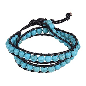 Amazon.com: Trendy and Chic Turquoise Beads Wrap Genuine Leather Bracelet or Necklace for Women and Men: Jewelry from amazon.com