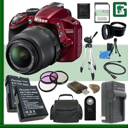 Nikon D3200 Cmos Dslr Camera With 18-55Mm Vr Lens (Red) + 32Gb + Green'S Camera Bundle