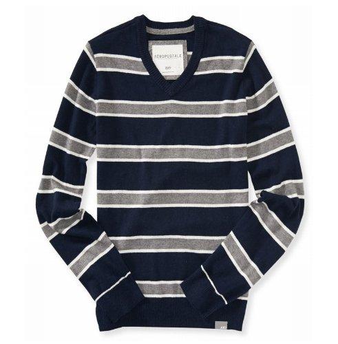 (エアロポステール)AEROPOSTALE セーター Striped V-Neck Sweater ネイビー Deep Navy 並行輸入品