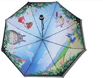 DIDA Japanese Miyazaki Hayao Animation Totoro Strong Water-repellent Anti-UV Double Layer Folding Parasol Umbrella Sun Umbrella UV Protection