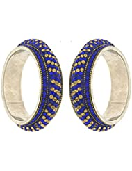 Anuradha Art Golden & Blue Colour Styled With Shimmering Stone Ethnic Bangles Set For Women/Girls