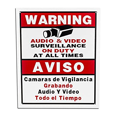BV-Tech SIGN-F Best Vision 12 x 16 Security Surveillance Warning Sign for CCTV Camera (White)