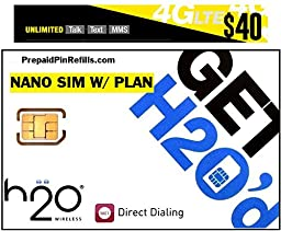 H2O H20 Wireless Nano SIM Card for AT&T iPhone 6/6 Plus/5/5s/5c and Unlocked iPhones w/ $40 Airtime