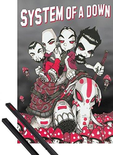 Poster + Sospensione : System Of A Down Poster Stampa (91x61 cm) Personaggi E Coppia Di Barre Porta Poster Nere 1art1®