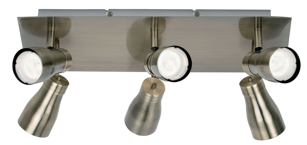 Endon 0376-AN Deckenleuchte mit 6 Spots in Messing-Antik-Optik mit Energiesparlampen GU10 CFL