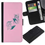 For Sony Xperia Z1 Compact / Z1 Mini / D5503,S-type® Pink Kittens Book Bible Reading Kids School - Drawing PU...