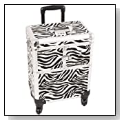 Professional Rolling Cosmetic Makeup Train Case Pattern: Zebra, Color: White