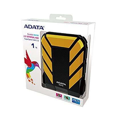 Adata Dash Drive Durable HD710 1 TB External Hard Drive Portable (Yellow)
