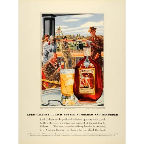 1939 Ad Lord Calvert Blended Whiskey Derby Racetrack   Original Print Ad