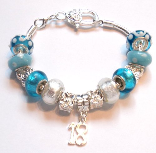 18th Birthday Blue Pandora Style Charm Bracelet - Ideal Birthday Present