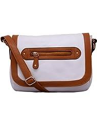 Lychee Bags Women's White PU Sling Bag (LBHBPU44WT)