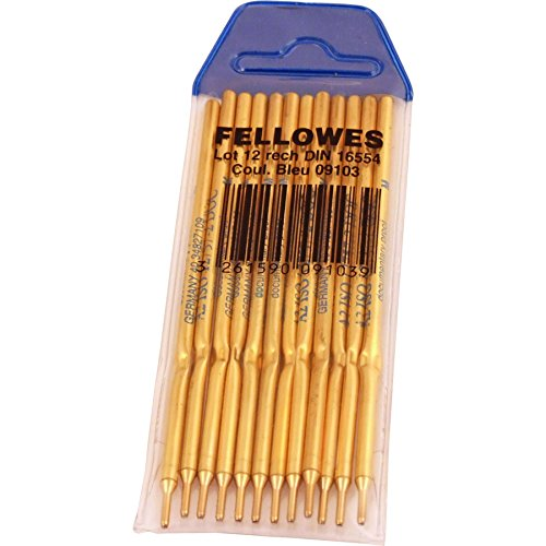 Fellowes Lot de 12 Recharges stylo sur socle pointe Bleu