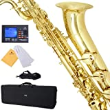 Mendini MBS Baritone Saxophone with Gold Lacquered Body and Keys w/ Case & Chromatic Tuner with Metronome