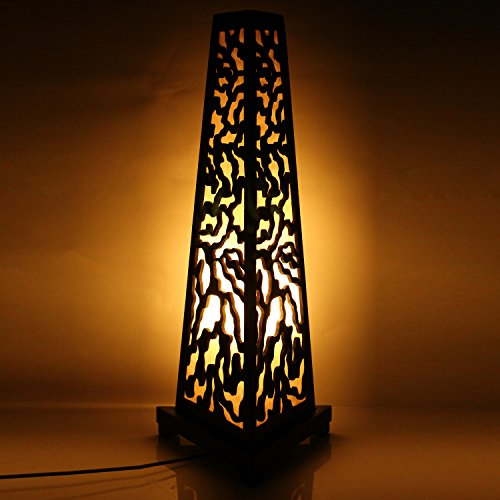 Wooden Floor Lamp in Pyramid Shape Modern Design