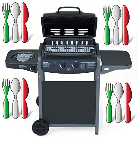 Barbecue Grill BBQ a Gas Giardino Griglia Picnic Terrazzo 2+1 Colore Nero - EGLEMTEK® TM
