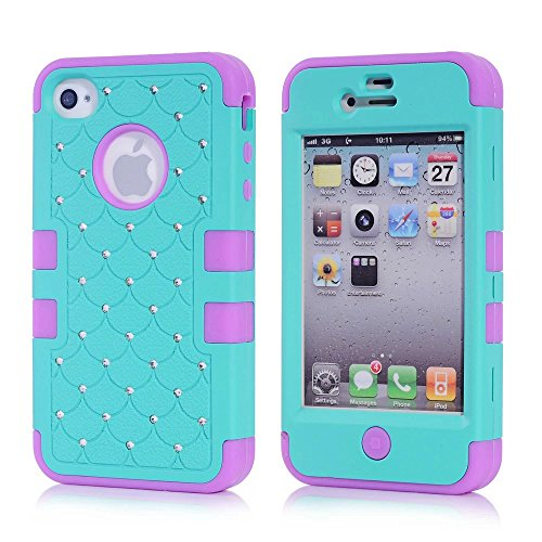 iPhone 4S Case, KAMII 3 Layers Verge Hybrid Soft Silicone Hard Plastic Triple Quakeproof Drop Resistance Protective Case Cover for Apple iPhone 4/4S (Teal Purple ) (Iphone 4s Back Glass Marvel compare prices)