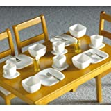 The Dolls House Emporium White Square Crockery 16 pcs