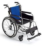 【非課税】 MiKi(ミキ) BAL-1 バルシリーズ 自走型 自走用 車いす ブルー(W4)メッシュ 前座高435mm 重量12.9kg 座幅40cm 22インチハイポリマータイヤ