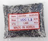 Copper Double Barrel Mini Crimp Sleeves 1.3mm x 7mm - 1,000 piece pack