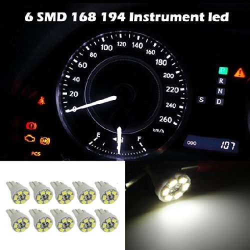 Partsam 10X 6000K White Instrument Speedometer Gauge Cluster 12V T10 Led Dash Light Bulb