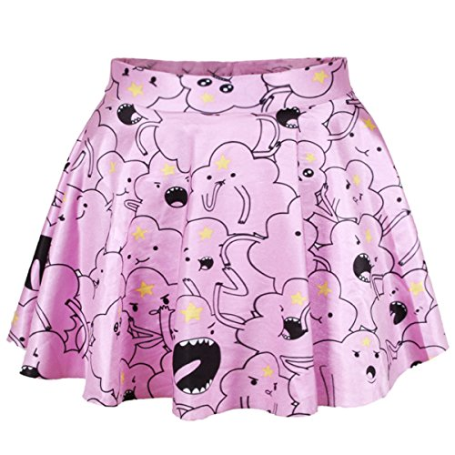 HelloTem Women Girls Digital Print Stretchy Flared Pleated Casual Mini Skirt (One Size, Lumpy Space Princess) (Lumpy Space Princess Dress compare prices)