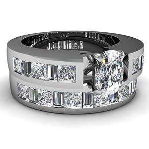4.55 Ct Cushion Cut Diamond Wedding Rings Set 14K SI3-I