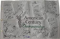 2010 American Century Championship Celebrity Golf Tournament Autographed Pin Flag with 45 Signatures Total Including Notables Aaron Rodgers, Jerry Rice, John Elway, Lou Holtz & More, Proof Photos