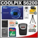 Nikon Coolpix S6200 Digital Camera (Blue) with 8GB Card + Battery + Case + Accessory Kit