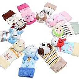 Toddler Infant Baby Non-Skid Rattle Socks Set 3 Pack Foot Rattles Floor Socks