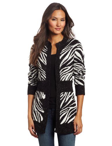 Rafaella Women's Zebra Cardigan, Black, Large