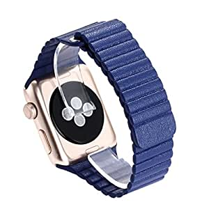 Apple Watch Band, SOHOU Genuine Leather Magnetic Loop Replacement Strap iWatch Band Strap for Apple Watch 42mm(Leather Loop ) (blue)
