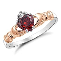 Sterling Silver Two Tone Rose Gold Ruby Red CZ Claddagh Ring Sizes 4 to 9
