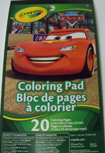 "Disney Cars Coloring Pad by Crayola ~ Lightning McQueen Smiling Bright Cover (20 pages; 4.5"" x 9"") - 1"