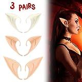 Cinsey Elf Ears Halloween Latex Props Anime Elf Earrings Accessories Vampire Party Makeup Ears (3 Pairs)