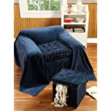 Homescapes - Arm Chair Booster Cushion - NAVY Blue - 100% Cotton Velvet Fabric and supportive cotton Comfort Enhancer filling.by Homescapes