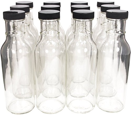 Wide Mouth Empty Sauce Bottles 12oz Complete Set of Bottles and Lids (set of 12) (Hot Sauce Glass Bottles compare prices)