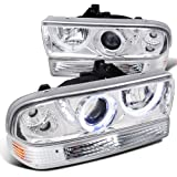 Chevy S10 Blazer Chrome SMD LED Halo Projector Headlights+Bumper Lamps