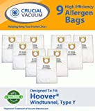 Hoover WindTunnel Paper Type Y 9 Pack Vacuum Bags - Allergen filtration with Closure - Compare With Hoover Part # 4010100Y