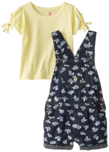 U.S. Polo Assn. Baby Girls' Flower Print Denim Shortall with Top, Lemon Juice, 24 Months