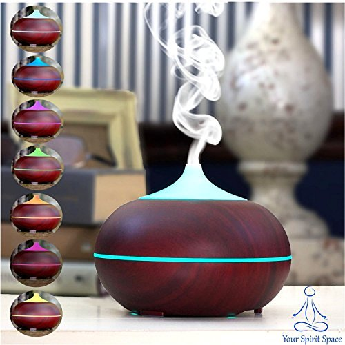 Your-Spirit-Space-300ml-Cherry-Woodgrain-Aromatherapy-Essential-Oil-Diffuser-Portable-Ultrasonic-Cool-Mist-Humidifier-7-Color-LED-Lights-Auto-Shut-Off-Home-Office-Bedroom-Spa-Yoga-LivingBaby-Room
