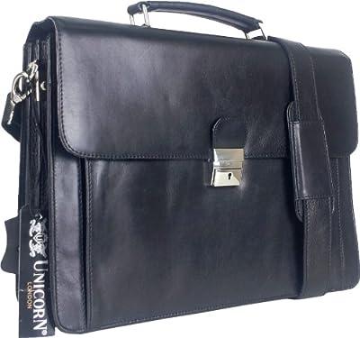 Unicorn Black Real Leather Bag Business Executive Briefcase Keylock Messenger 6n