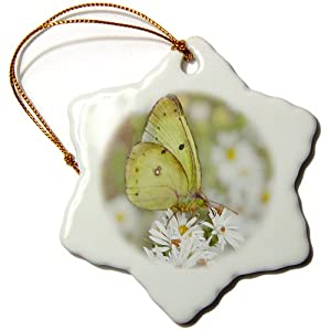 3dRose orn_12316_1 Yellow Butterfly on Wild Daisies Porcelain Snowflake Ornament, 3-Inch