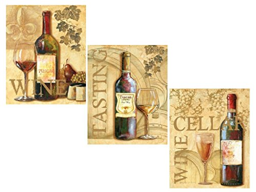 3 Wine Grape Art Prints Tuscany Posters Kitchen Decor Art Poster Print by Ron Jenkins, 8x10 (Grape Wine Posters compare prices)