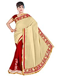 Winza Half Half Red and beige Party Wear Embroidered Georgette Saree for Women ( with discount and sale offer)
