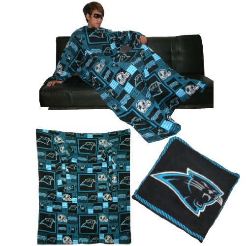 Nfl Carolina Panthers Large Throw Blanket With Sleeves That Folds Into A Couch Pillow - Black & Blue front-1043698